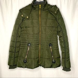 NWT GUESS OLIVE GREEN HOODED PUFFER COAT Med